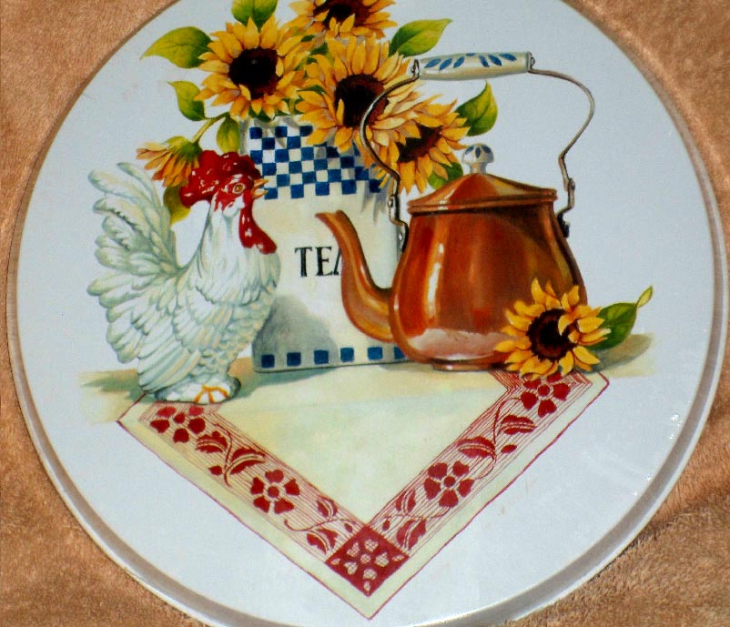 `Country Kettle Rooster Sunflower Round Burner Cover