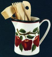 ~ Nouveau pot / ustensile en céramique Apple de 7 pièces