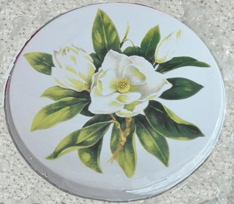 `Magnolia-on White Round Metal Burner Cover