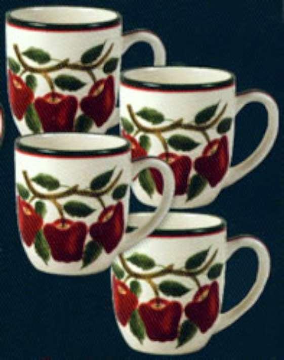 ~ Nouvel ensemble de 4 tasses à café en céramique Apple