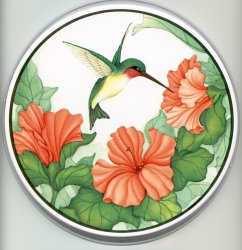 `Burner Covers Round Metal - Floral Hummingbird