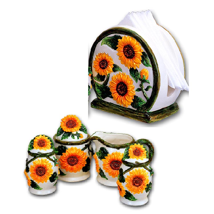 Sunflower 5pc Napkin Holder-Salt,Pepper,Sugar&creamer