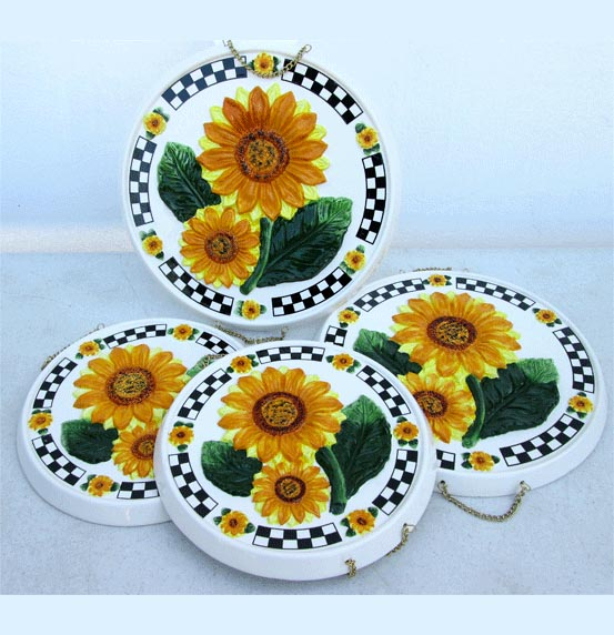 Ceramic 4 Stove Burner Covers 3-D Sunflower