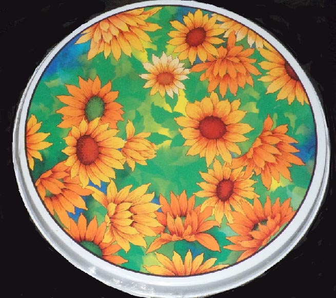 Sunflower Field - Round Metal Burner Covers