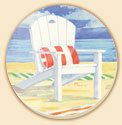Adirondack Chairs 4 Coastal Patterns Coaster Set of 8