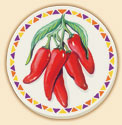 Chili Peppers Southwestern Coaster Set of 8