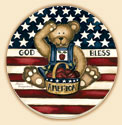 American Bear Patriotic Coaster Set of 8