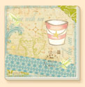 By the Sea 4 Coastal Patterns Coaster Set of 8