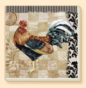Bergerac Rooster 4 Farm Life Patterns Coaster Set of 8