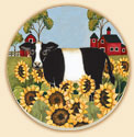 A Set Of 8 Sunflower-Cow Coaster