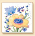 Blue Wildflowers Floral Coaster Set of 8