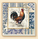 French Rooster 2 Patterns Farm Life Coaster Set of 8