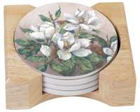 Magnolia Inspiration Floral 4 Stone Coasters w/Holder
