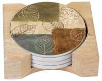 Autumn Leaves Collage 4 Cork Back Stone Coasters w/Holder