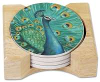 4 Peacock Majestic Beauty Stone Coasters w/Holder