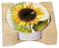* 4 Sunflowers in Bloom Cork on Stone Coasters w/Holder