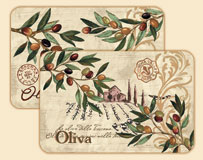 * An Olive theme Wipe-clean Oliva 4 Plastic Placemats