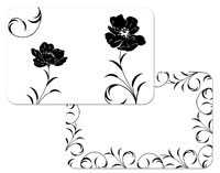 A Black Tie Corelle Black and White Floral Placemat Set