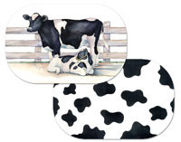 Corralled Cows  Placemat Set Wipe-clean Vinyl-Plastic