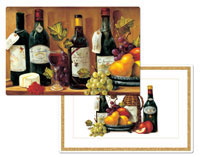 A Wine Grape And Cheese Vinyl-Plastic Placemat Set
