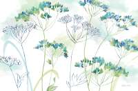 4 Frosted Translucent Plastic Placemats Indigo Blue Wildflowers