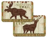 A Cabin/Lodge/Bear/Deer Wildlife Placemat - Woodland