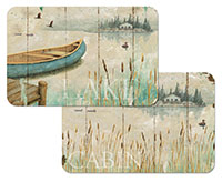 A Beach Coastal Lakeside Cabin 4 Plastic Placemats