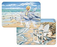 A Beach Days Set-12 Vinyl-Plastic Placemats