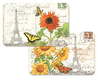 *NEW Placemat Set-4- Vinyl-Plastic-Sunflower Postcard