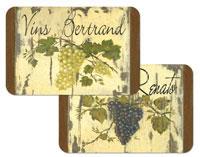 A Grapes on Wine Labels Vinyl/Plastic Placemats