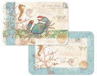 A Coastal Beach Blue Crab Placemat Set Wipe-Clean Vinyl/Plastic