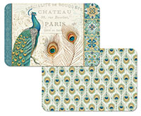 * NEW Majestic Beauty Peacock Art Vinyl Plastic Placemats