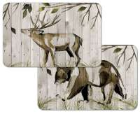 * 4 Rustic Cabin Lodge Plastic Placemats Woodland Welcome