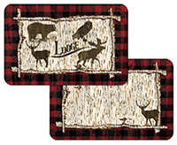 4 Rustic Birch Cabin Lodge Bear Deer Plastic Placemats