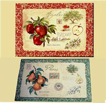 Apple Design Placemat Reverses to Pears -Old Orchard