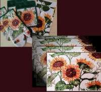 4 Sunflower Cloth Fabric Tapestry Placemats & Towels CLEARANCE