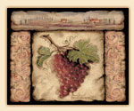 A Glass 15x12 Grape Cuttingboard - Tuscan Collage