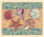 Coastal Blues Seashell Glass 15x12  Cuttingboard