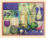 Glass Cuttingboard Olive and Wine Collage