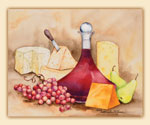15x12 Wine-Grape-Cheese Glass Cuttingboard-Wine Carafe