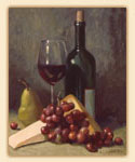 A Grape/Wine/Cheese/ Glass Cuttingboard Classic Cabernet