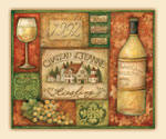 Grand Vin Wine Grape Tempered Glass 15x12  Cutting Board