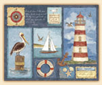 A Beach Coastal Lighthouse Glass Cuttingboard-Pelican Reef