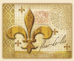 A Cuttingboard 15x12 Tempered Glass Golden Fleur de Lis