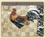 Bergerac Rooster Glass 15x12  Cuttingboard