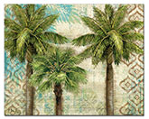 * Aqua Escape Tropical PalmTrees Glass Cuttingboard Serving Tray