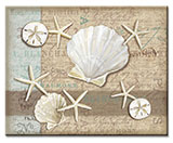 A Coastal Beach Glass Cuttingboard Serving Trivet Linen Seashell