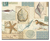 A Coastal Glass Cuttingboard 15x12 Seashell Collage