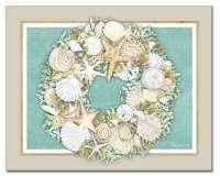 Coastal Wreath Beach Seashell Glass Cuttingboard Serving Tray