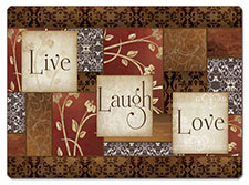 4 CorkBacked Hardboard Table-Placemats Spice Live,Laugh,Love